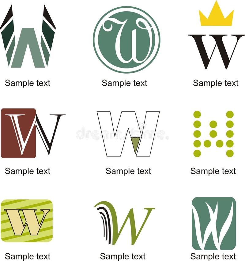 BokstavsW-logo vektor illustrationer