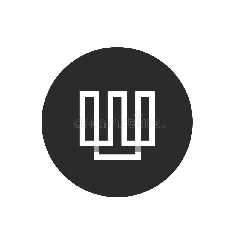 BokstavsW-Minimalist Logo Template, teknologivektordesign, vit färg på svart cirkelbakgrund vektor illustrationer