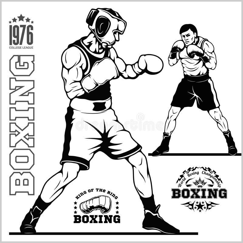 Boksuj?cy set boksery, emblematy, etykietki, odznaki, logo i projektuj?cy elementy -, Monochromu styl ilustracja wektor