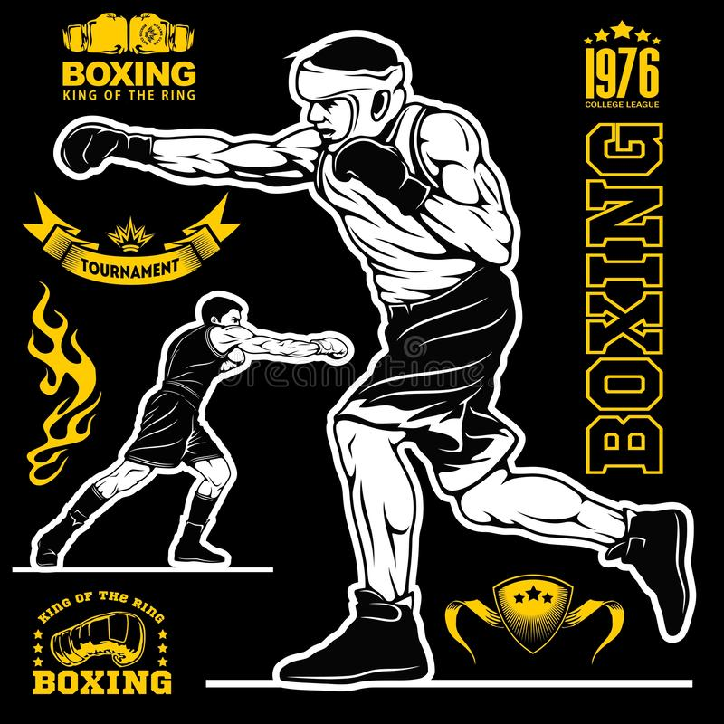 Boksuj?cy set boksery, emblematy, etykietki, odznaki, logo i projektuj?cy elementy -, Monochromu styl ilustracji
