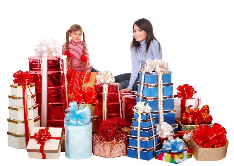 boksuje dziecka rodzinnej prezenta grupy szczęśliwej matki obrazy stock