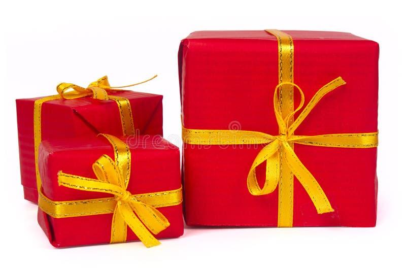 boksuje prezent czerwień trzy zdjęcia stock