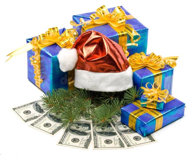 boksuje prezenta kapeluszową pieniądze czerwień s Santa zdjęcia royalty free