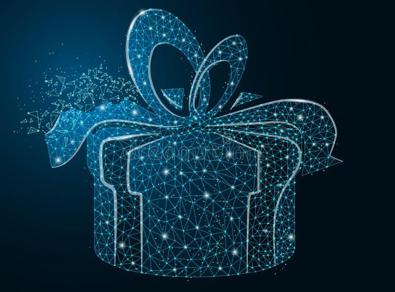 Boksuje z prezentem na ciemnym tle, wektorowy prezent, pudełko z łękiem, eps 10 royalty ilustracja