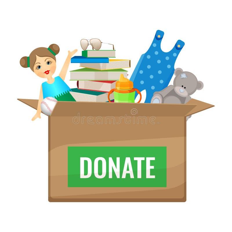 Boksuje z zabawkami i książkami darować dla dzieci ilustracja wektor