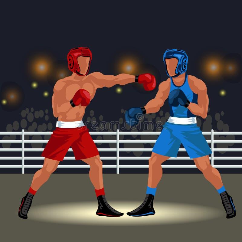 Bokswedstrijd in rings vlakke affiche Professionele boksers in sportkleding en materiaal die de gebeurtenisvector hebben van het  stock illustratie