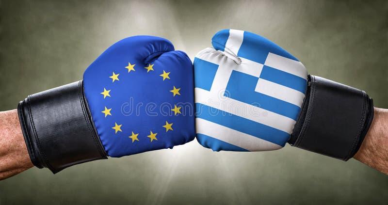 Bokswedstrijd tussen de Europese Unie en Griekenland royalty-vrije stock foto's