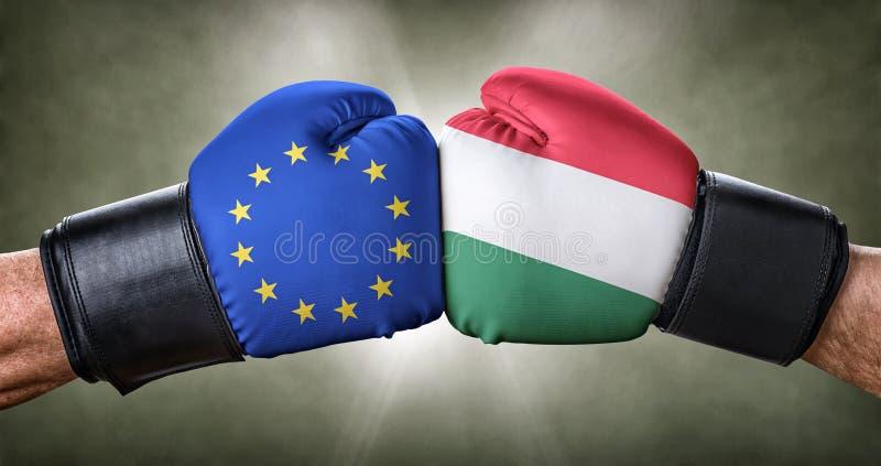 Bokswedstrijd tussen de Europese Unie en Hongarije royalty-vrije stock afbeeldingen
