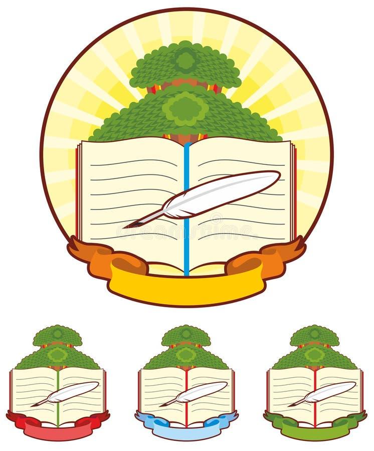 Bokträdemblem royaltyfri foto