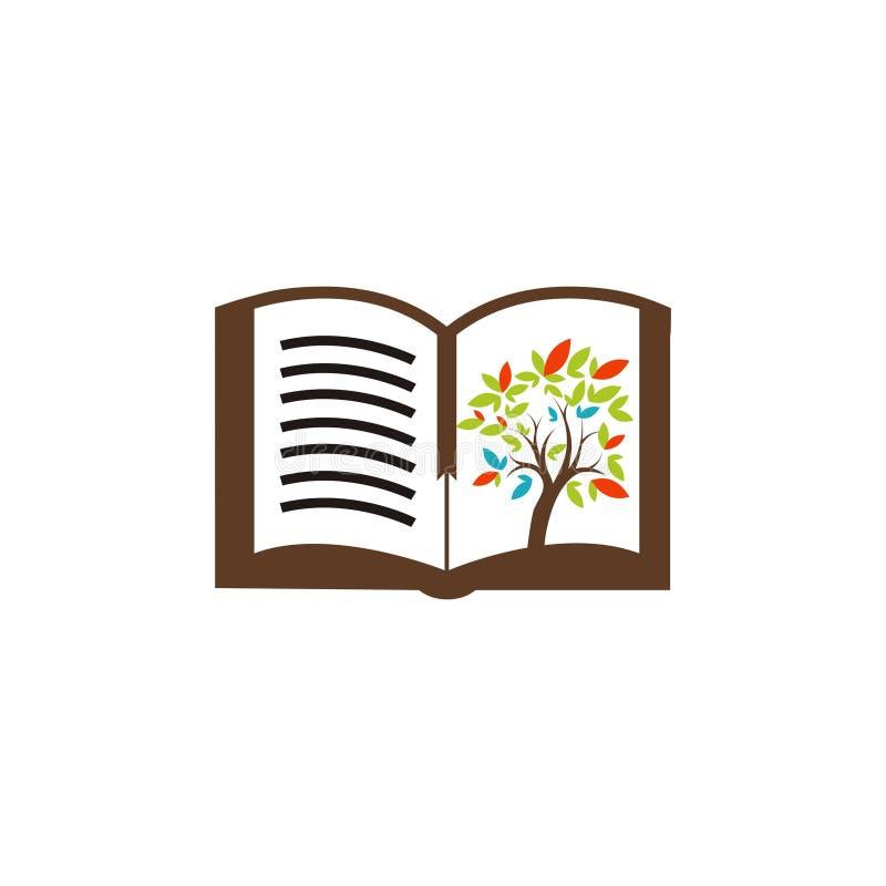 Bokträdlogo stock illustrationer