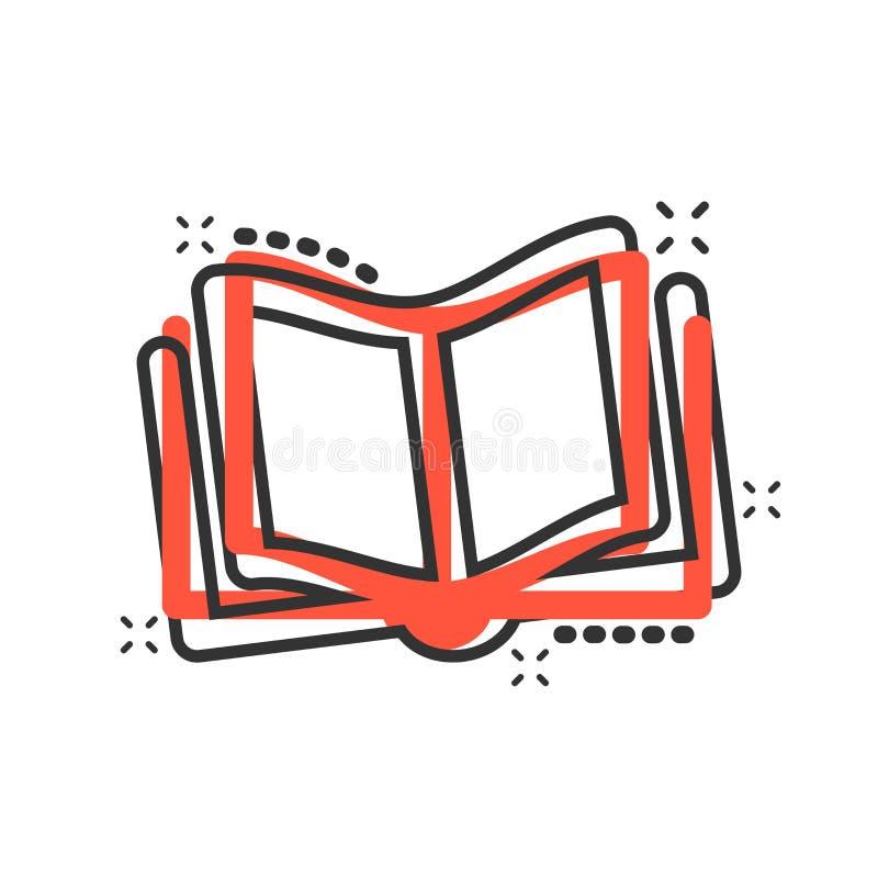 Bokutbildningssymbol i komisk stil Pictogram för illustration för tecknad film för litteraturtidskriftvektor Färgstänk för bokpap royaltyfri illustrationer