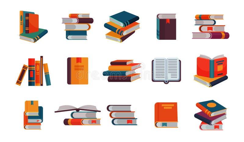 Bokvektorbunt av läroböcker och anteckningsböcker på bokhyllor som läser litteratur i boklärd räkning för arkiv eller för bokhand stock illustrationer