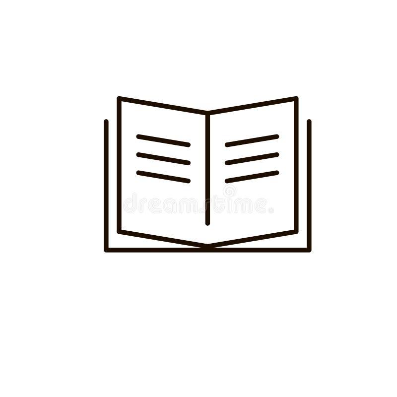 Bokvektorsymbol, öppen tidskrift, linje tunt tecken för översikt, plan design för lärobokordboktecken för den mobila appen för re stock illustrationer