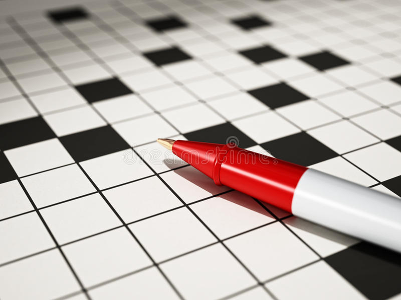 Bolígrafo que se coloca en el ejemplo del crucigrama 3D libre illustration