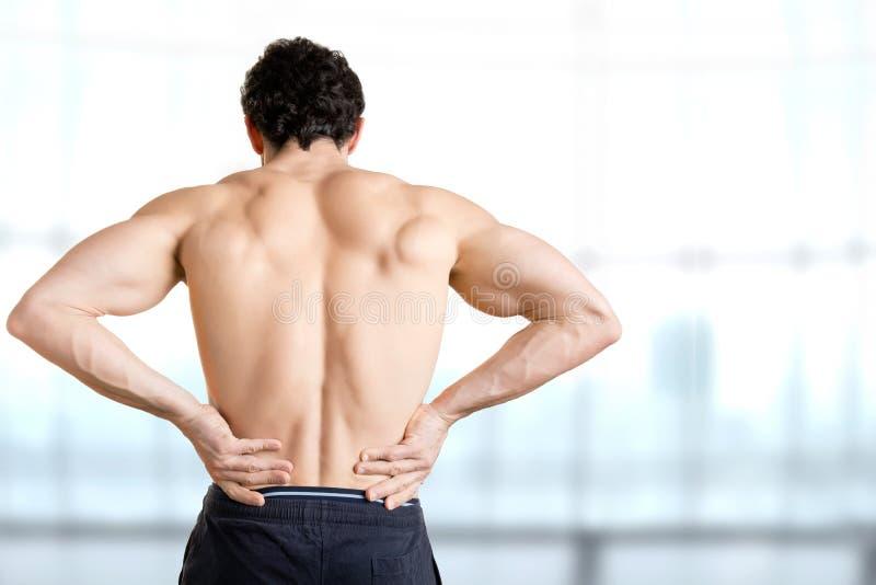 bolącego plecy łóżka bolący target759_0_ wizerunku uraz target762_0_ męskiego mężczyzna mięśnia szyi bólu stronniczo surowego ram zdjęcia stock