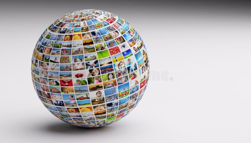 Bol, bal met diverse beelden van mensen, aard, voorwerpen, plaatsen stock afbeeldingen