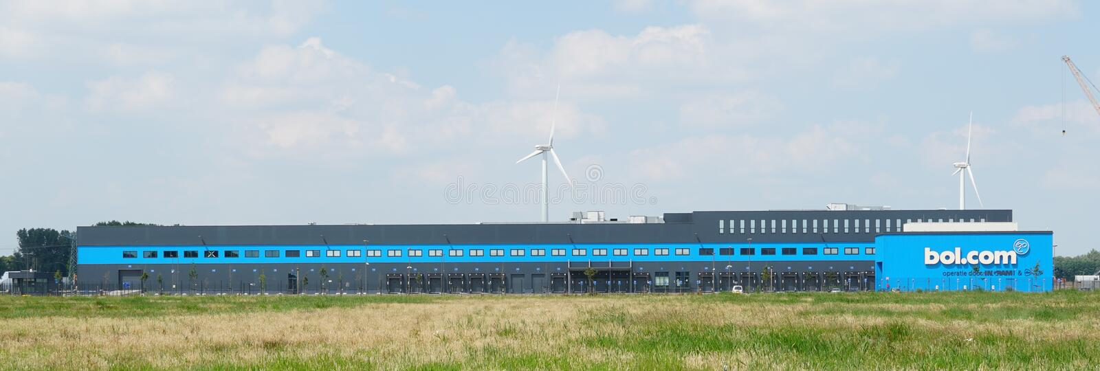 Bol.com distribution center in Waalwijk. Waalwijk, the Netherlands. June 2019. Distribution center for Bol.com in Waalwijk, a leading internet shop in the royalty free stock photo