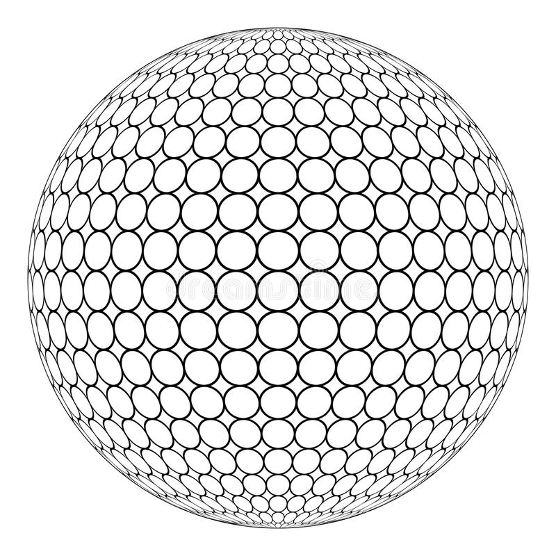Bol 3D gebied met ringsnetwerk op de oppervlakte, vector van de ronde structuur van het gebied stock illustratie