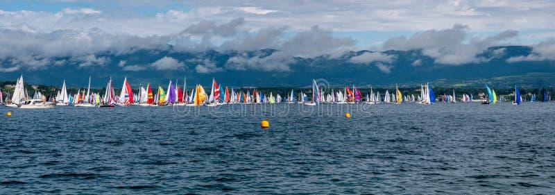 Bol d'Or Mirabaud es la regata interior más importante del lago del mundo fotos de archivo libres de regalías