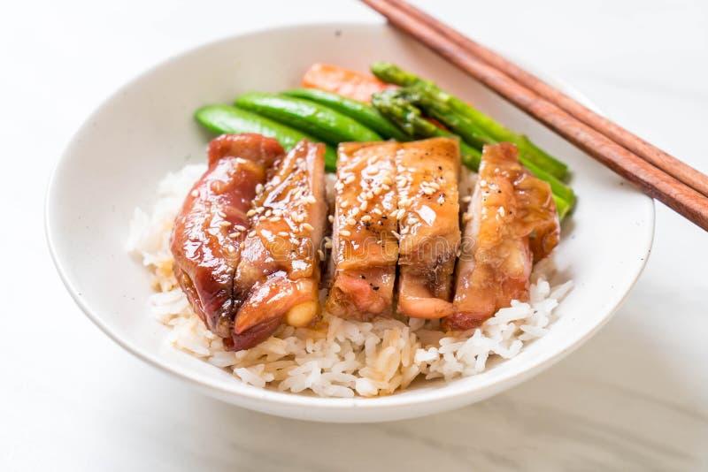 Bol de riz de poulet de Teriyaki images libres de droits