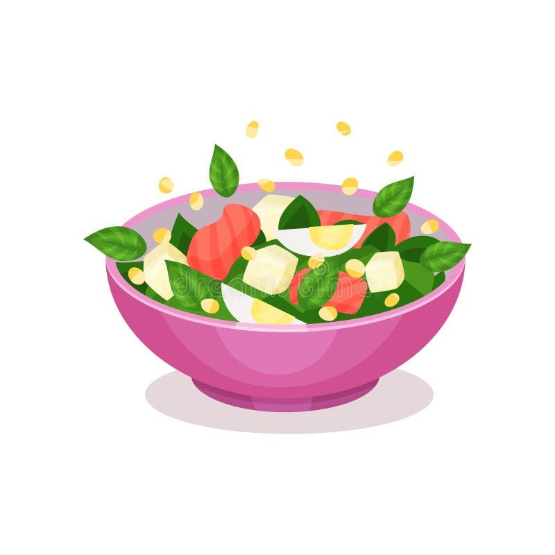 Bol de salade avec des épinards, des saumons et l'oeuf, illustration saine de vecteur de concept de consommation illustration stock