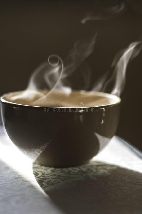 Bol de soupe chaude sur le faisceau de lumière photo libre de droits