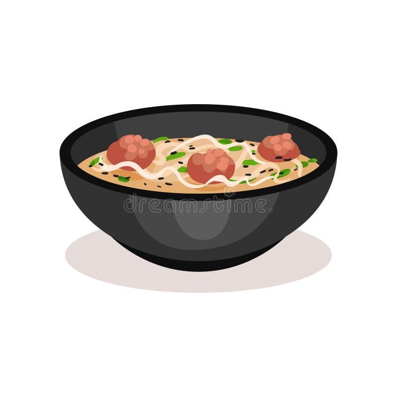 Bol de soupe délicieuse avec les boulettes de viande et la nouille Plat traditionnel de cuisine asiatique Repas appétissant Icône illustration libre de droits