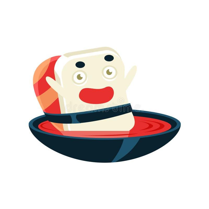Bol de soupe drôle à Maki Sushi Character Bathing In illustration libre de droits