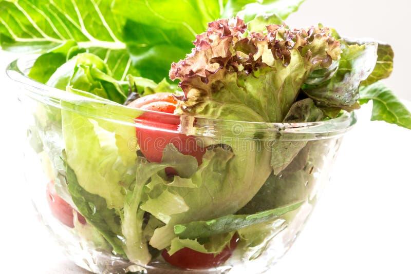 Bol de vidrio de ensalada de las verduras frescas fotografía de archivo libre de regalías