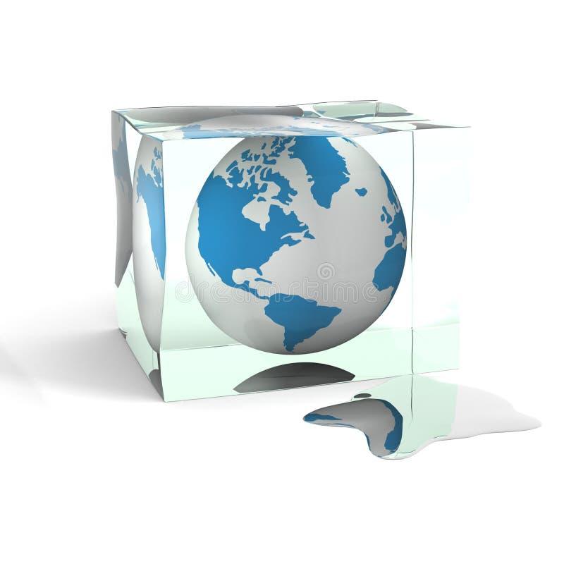 Bol in een kubus van een ijs. royalty-vrije illustratie