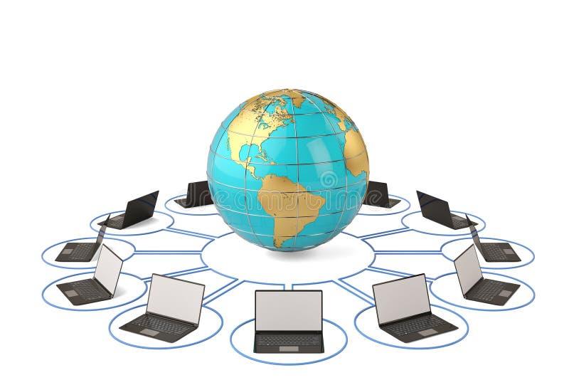 Bol en computervoorzien van een netwerk 3D Illustratie vector illustratie