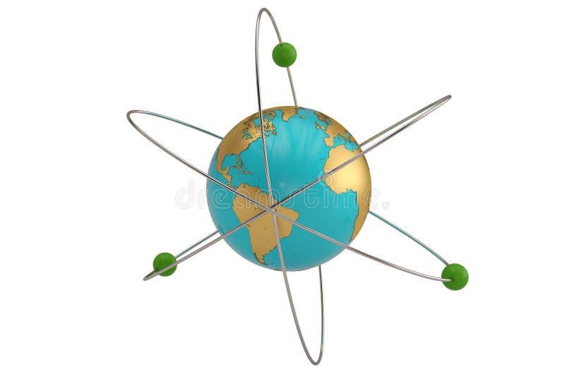 Bol en de molecules in de cirkel om samenstelling 3d illu stock illustratie