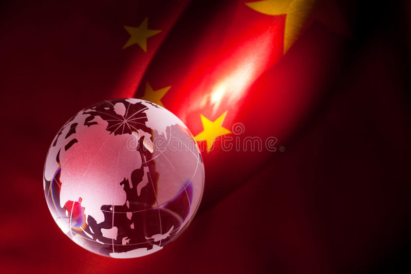 Bol en de Vlag van China stock foto