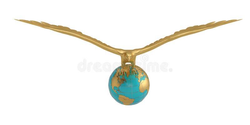 Bol en gouden adelaar 3D Illustratie royalty-vrije illustratie
