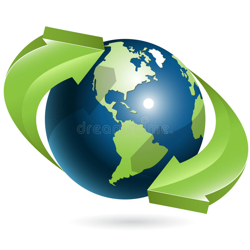 Bol en groene pijlen royalty-vrije illustratie