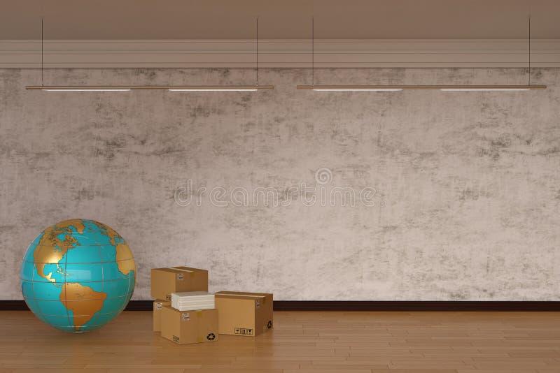 Bol en karton op houten vloer 3D Illustratie stock illustratie