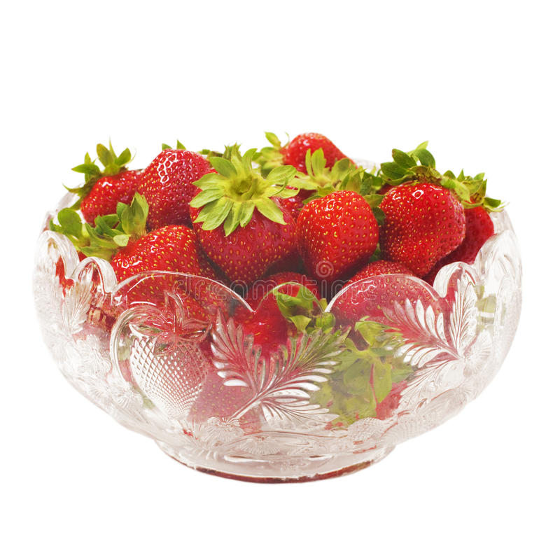 Bol en verre de fraises images libres de droits