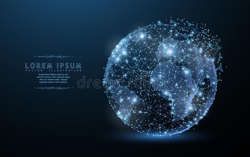 Bol Het veelhoekige pictogram van het wireframenetwerk met afgebrokkelde rand kijkt als constellatie Conceptenillustratie of acht vector illustratie