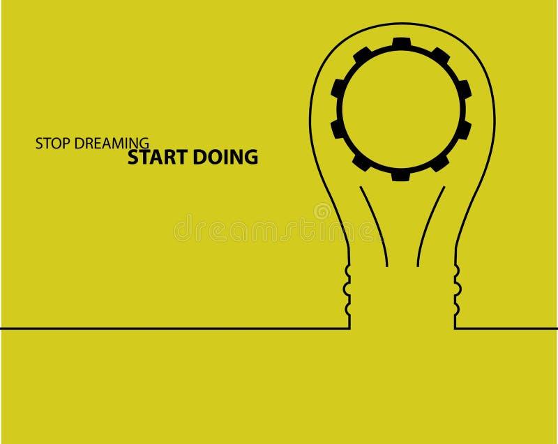 Bol licht idee concept de grote innovatie van de ideeëninspiratie, uitvinding, efficiënt het denken tekst stock illustratie