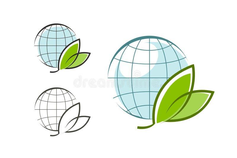 Bol met groene bladeren, embleem Eco, natuurlijke, organische pictogram of symbool Vector grafiek royalty-vrije illustratie