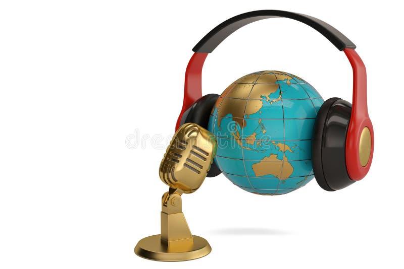 Bol met hoofdtelefoon en microfoon creatieve concepten 3d illustra stock illustratie