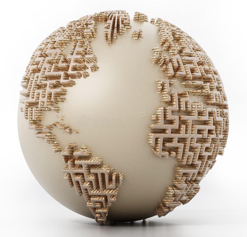 Bol met labyrintmuren als continenten 3D Illustratie vector illustratie