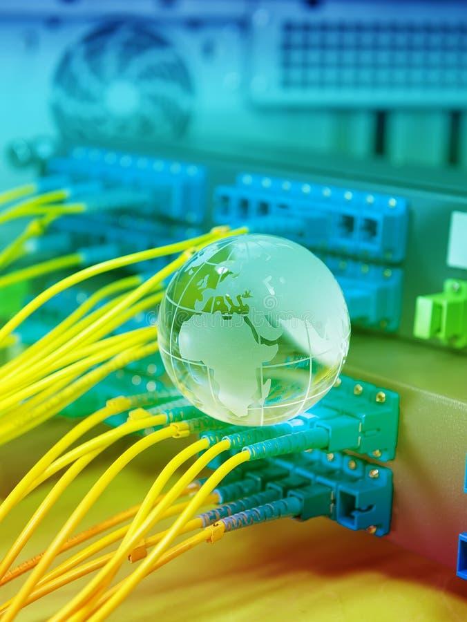 Bol met netwerkkabels en servers stock afbeelding