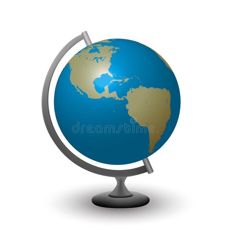 Bol met Noord-Amerika en Zuiden Amertica stock illustratie