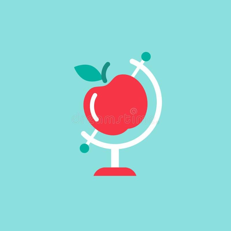 Bol met rode appel op blauwe achtergrond het vlakke model van de Aardeplaneet Wetenschapssymbool royalty-vrije illustratie