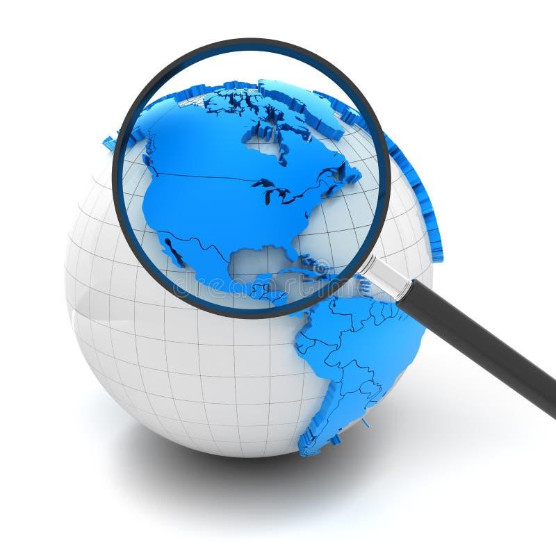 Bol met vergrootglas over Noord-Amerika en vector illustratie