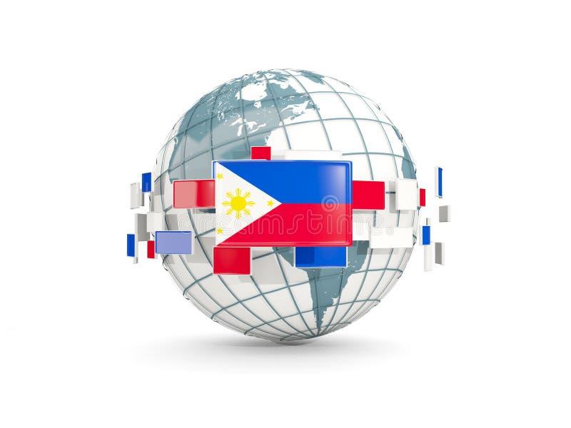 Bol met vlag van Filippijnen die op wit worden geïsoleerd royalty-vrije illustratie