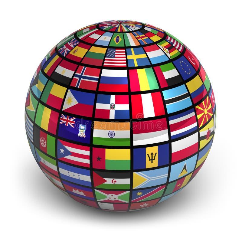 Bol met wereldvlaggen royalty-vrije illustratie