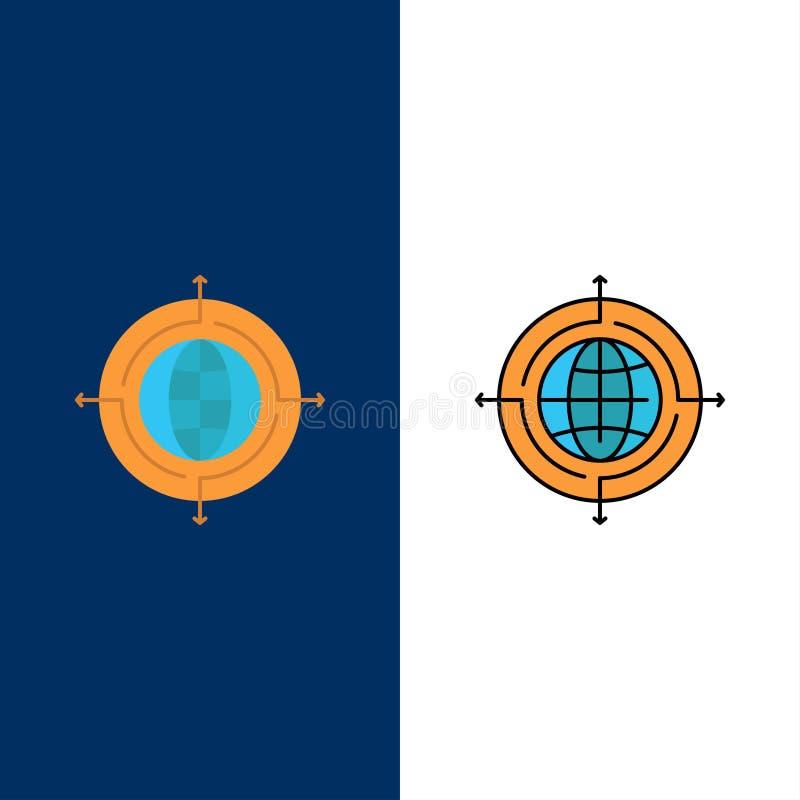 Bol, Nadruk, Doel, Verbonden Pictogrammen Vlak en Lijn vulde Pictogram Vastgestelde Vector Blauwe Achtergrond vector illustratie