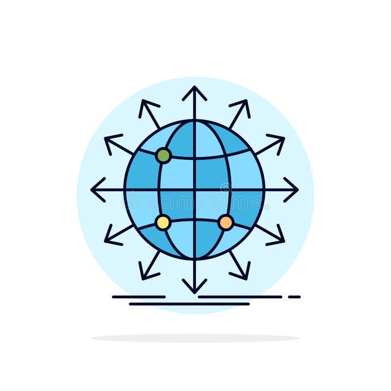 bol, netwerk, pijl, nieuws, de Vlakke Vector wereldwijd van het Kleurenpictogram stock illustratie